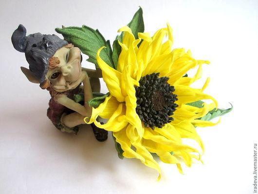 """Броши ручной работы. Ярмарка Мастеров - ручная работа. Купить Цветы из шелка. Брошь """"Подсолнух"""".. Handmade. Желтый, оригинальная брошь"""