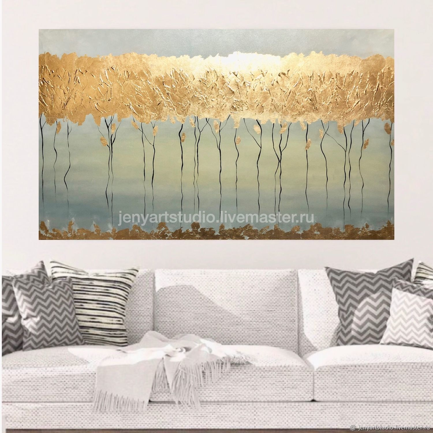 Large abstract painting 'Golden forest' in light colors with gilding, Pictures, Kolomna,  Фото №1