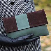 Сумки и аксессуары handmade. Livemaster - original item Clutch bag in genuine leather two tone green. brown. pending. Handmade.