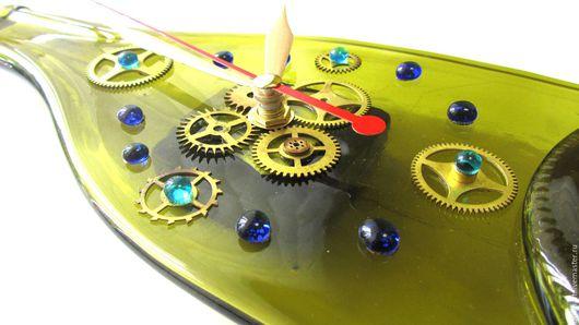 """Часы для дома ручной работы. Ярмарка Мастеров - ручная работа. Купить Часы """"Бутылка"""" Фьюзинг. Handmade. Комбинированный, часы настенные"""