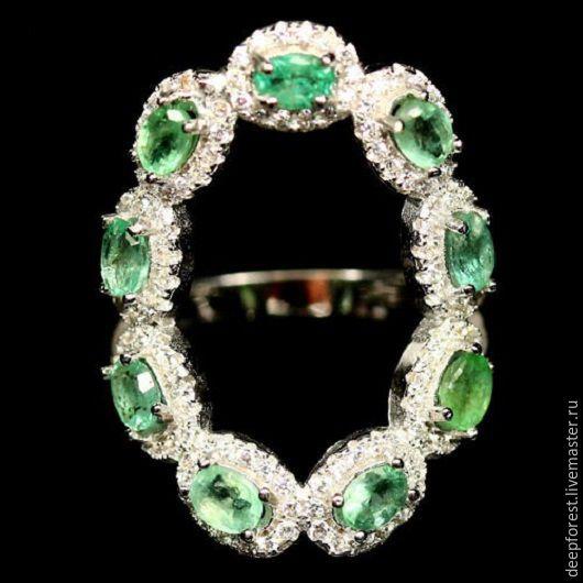 """Кольца ручной работы. Ярмарка Мастеров - ручная работа. Купить Кольцо с изумрудами в серебре """"Онтарио"""". Handmade. Зеленый, зеленое кольцо"""