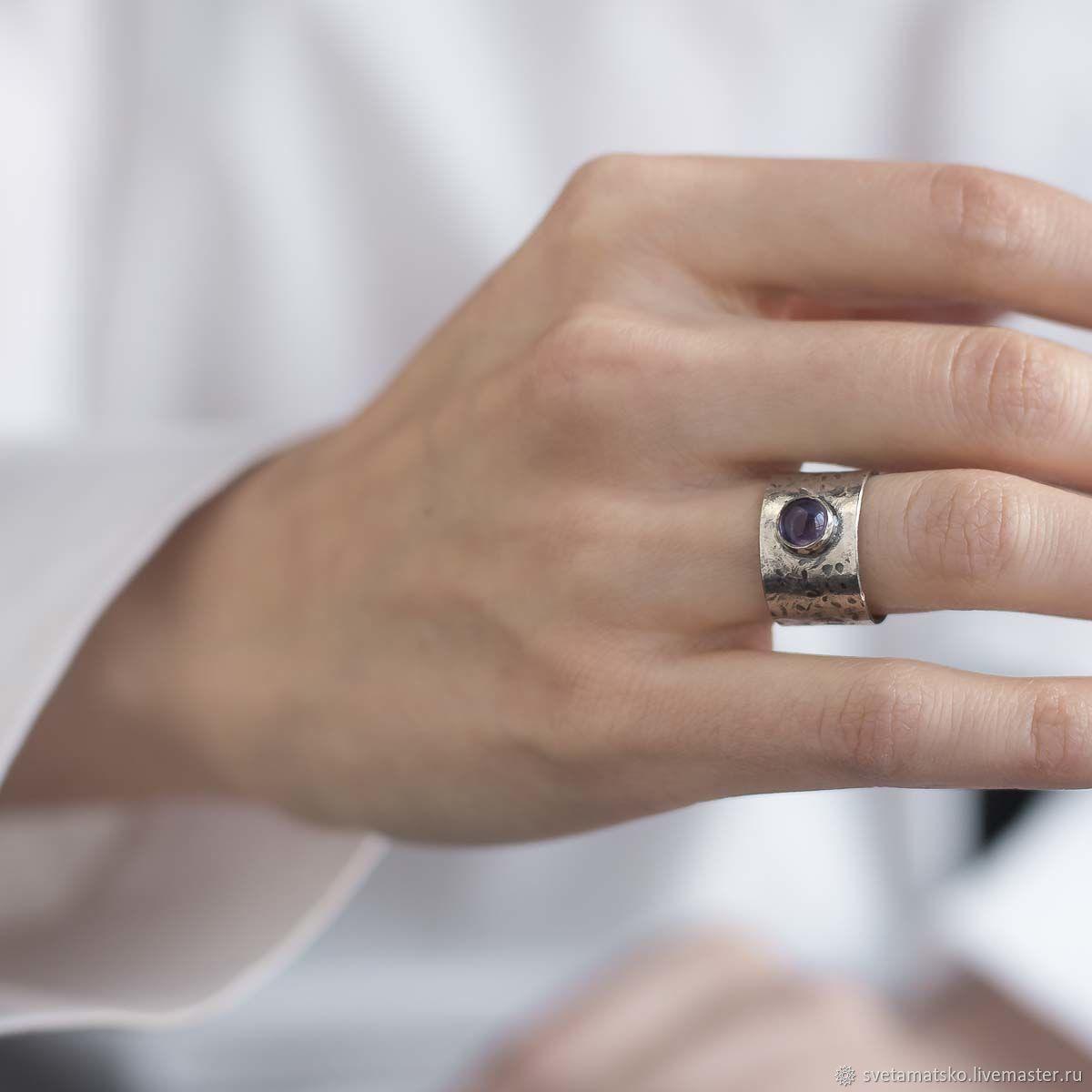 Кольца ручной работы. Ярмарка Мастеров - ручная работа. Купить Серебряное кольцо с аметистом, широкое кольцо из серебра с аметистом. Handmade.