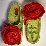 """Обувь ручной работы. Ярмарка Мастеров - ручная работа Валяные тапочки """"Роза"""" (женские). Handmade."""