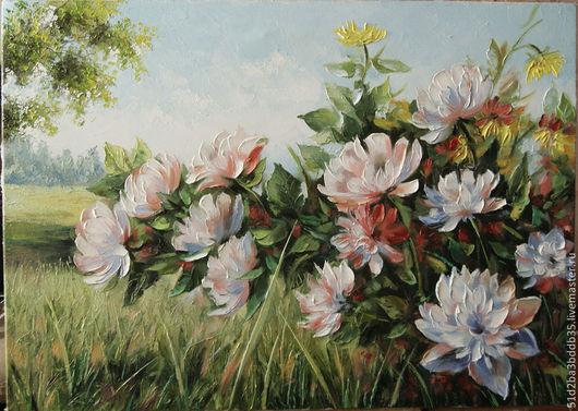 Картины цветов ручной работы. Ярмарка Мастеров - ручная работа. Купить пионы в цвету. Handmade. Картина, картина с цветами