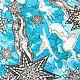 "Платок ""Балет сине-голубой"". Платки. Irina Ternovskaya Design. Ярмарка Мастеров.  Фото №6"
