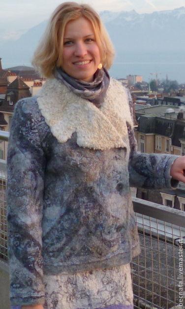 """Верхняя одежда ручной работы. Ярмарка Мастеров - ручная работа. Купить Дубленка-курточка""""Зимние каникулы"""". Handmade. Голубой, куртка женская"""