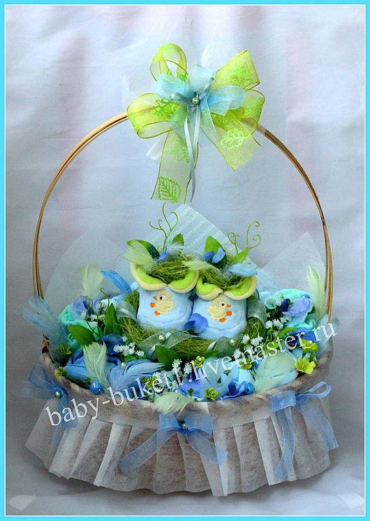 """Подарки для новорожденных, ручной работы. Ярмарка Мастеров - ручная работа. Купить Букет из детской одежды """"Гнездышко в лукошке"""". Handmade."""