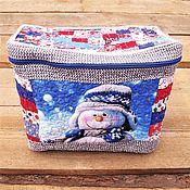 Для дома и интерьера handmade. Livemaster - original item Christmas Patchwork box, Quilted box, New Year 2022, Blue Tit. Handmade.