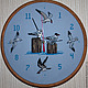 """Часы для дома ручной работы. Часы с ручной вышивкой """"Чайки"""". Olessya. Интернет-магазин Ярмарка Мастеров. Чайки, море, крестиком"""