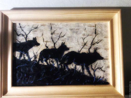 Животные ручной работы. Ярмарка Мастеров - ручная работа. Купить Картина на бересте Волки. Handmade. Черный, стая, лесной житель