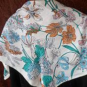 Винтаж handmade. Livemaster - original item Scarf with flowers,100% silk,China. Handmade.