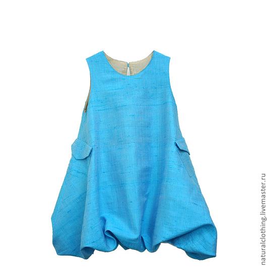 Одежда для девочек, ручной работы. Ярмарка Мастеров - ручная работа. Купить Шелковое платье-баллон для девочки Бирюзовое. Handmade. Бирюзовый