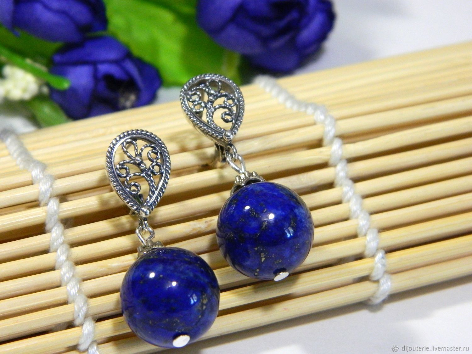 Earrings Lapis lazuli natural, Earrings, Saratov,  Фото №1