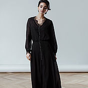 Свадебный салон handmade. Livemaster - original item Black chiffon dress Denise. Handmade.