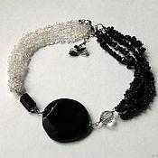 Украшения handmade. Livemaster - original item Agate, black tourmaline and quartz necklace. Handmade.