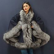 Одежда handmade. Livemaster - original item Cashmere poncho with silver fox. Handmade.