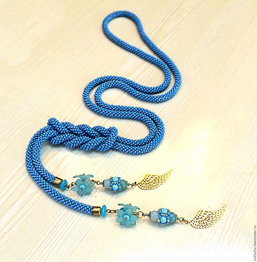 """Лариаты ручной работы. Ярмарка Мастеров - ручная работа. Купить лариат """" Окрылённая"""". Handmade. Синий, нежность, нежно-голубой"""