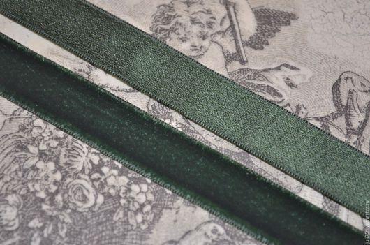 Шитье ручной работы. Ярмарка Мастеров - ручная работа. Купить Лента антикварная бархатная, Франция. Handmade. Тёмно-зелёный