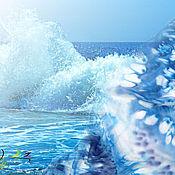"""Аксессуары handmade. Livemaster - original item Шарф шёлковый """"Брызги цвета - море"""" - батик. Handmade."""