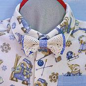 """Работы для детей, ручной работы. Ярмарка Мастеров - ручная работа Рубашка """"Зимние забавы"""" с кружевной бабочкой. Handmade."""