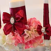 Свадебный салон ручной работы. Ярмарка Мастеров - ручная работа Свечи марсала с брошью с вашими инициалами. Handmade.