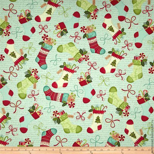 """Шитье ручной работы. Ярмарка Мастеров - ручная работа. Купить Новогодняя ткань. (6 видов) """"Счастливый Праздник-2"""". Хлопок США.. Handmade."""