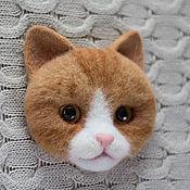 Украшения ручной работы. Ярмарка Мастеров - ручная работа Брошь валяная Рыжий котик. Handmade.