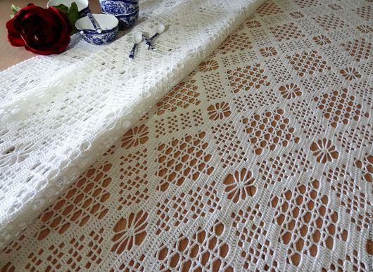 Текстиль, ковры ручной работы. Ярмарка Мастеров - ручная работа. Купить Ажурная скатерть. Handmade. Белый, скатерть вязаная