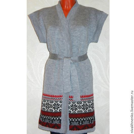 Жилеты ручной работы. Ярмарка Мастеров - ручная работа. Купить Вязаный длинный жилет-кимоно с норвежским орнаментом. Handmade.