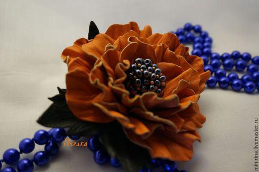 Броши ручной работы. Ярмарка Мастеров - ручная работа. Купить Апельсиновое настроение. Роза ручной работы. Handmade. Рыжий