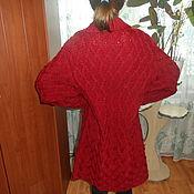 Одежда ручной работы. Ярмарка Мастеров - ручная работа вязанное пальто красного цвета. Handmade.