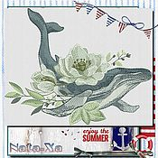 Материалы для творчества handmade. Livemaster - original item A WHALE IN FLOWERS. Machine Embroidery Design (set). Handmade.