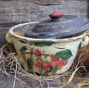 """Для дома и интерьера ручной работы. Ярмарка Мастеров - ручная работа Старинный горшок с крышкой """"Черешня"""" в стиле Кантри,для кухни. Handmade."""