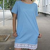 """Одежда ручной работы. Ярмарка Мастеров - ручная работа платье """"Голубое с кружевом"""". Handmade."""