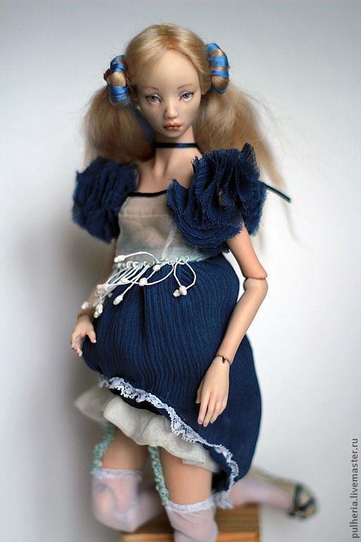 Коллекционные куклы ручной работы. Ярмарка Мастеров - ручная работа. Купить Джульетта. Handmade. Голубой, шёлк