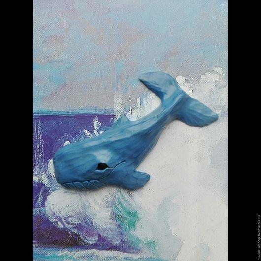 """Броши ручной работы. Ярмарка Мастеров - ручная работа. Купить Брошка """"кит. Handmade. Синий, брошь, морская тематика, пастель"""