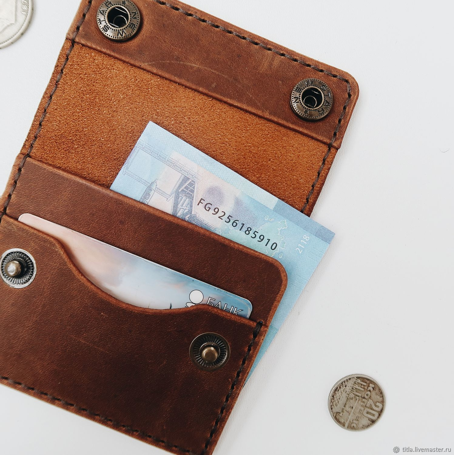 Mini wallet made of crazy horse leather, Wallets, St. Petersburg,  Фото №1