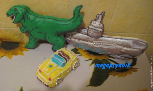 """Кулинарные сувениры ручной работы. Ярмарка Мастеров - ручная работа. Купить Пряник фигурный """"Динозавр"""". Handmade. Зеленый, имбирное печенье"""