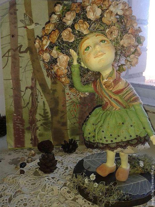Коллекционные куклы ручной работы. Ярмарка Мастеров - ручная работа. Купить девочка с цветущими волосами. Handmade. Салатовый, волосы, хлопок