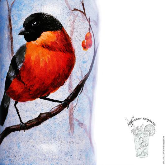"""Декоративная посуда ручной работы. Ярмарка Мастеров - ручная работа. Купить Бутылка декоративная """"Снегирь и рябина"""" голубой, красный. Handmade."""