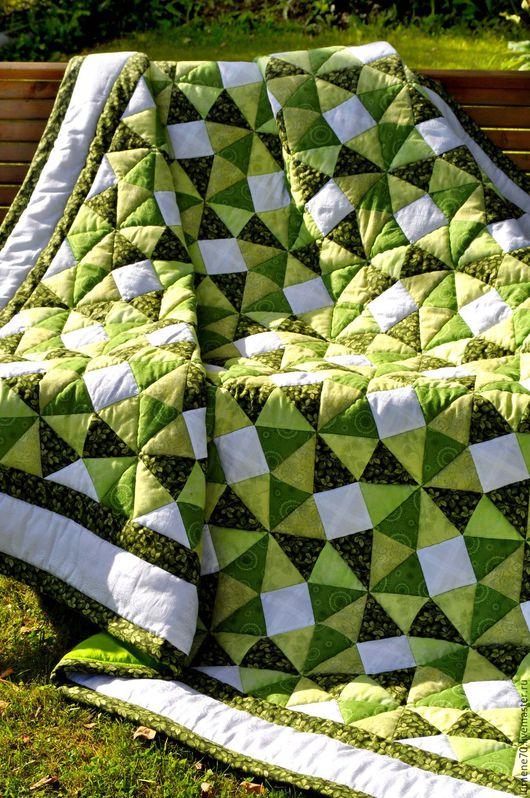 Текстиль, ковры ручной работы. Ярмарка Мастеров - ручная работа. Купить ЛОСКУТНОЕ ОДЕЯЛО МОХИТО. Handmade. Зеленый, покрывало с фото