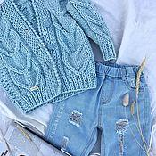 Кофты ручной работы. Ярмарка Мастеров - ручная работа Фактурный детский кардиган голубого цвета унисекс. Handmade.