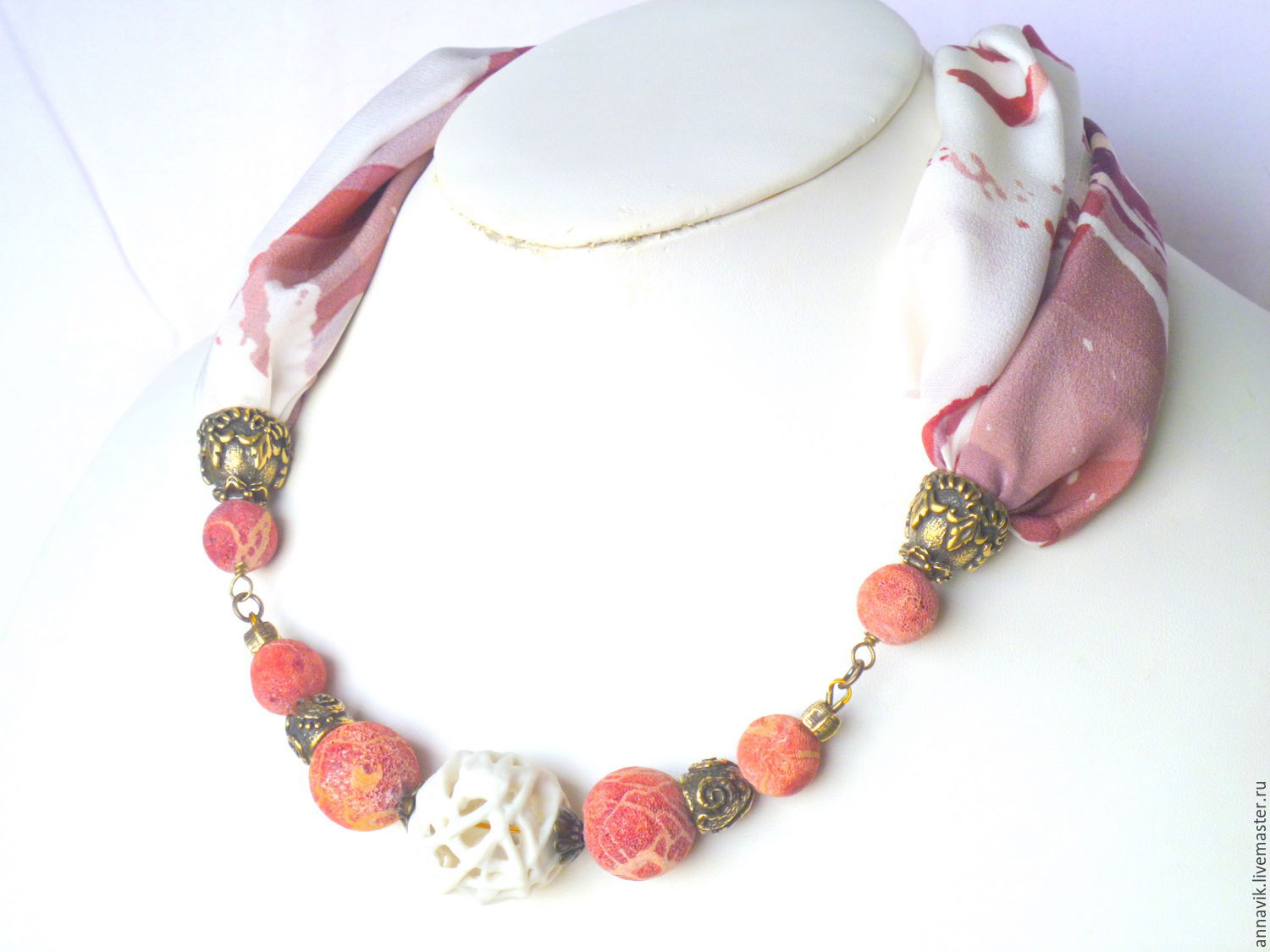 en polymer handmade myway and made necklace silk cords in with clay elements of necklaces