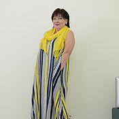 Одежда ручной работы. Ярмарка Мастеров - ручная работа Сарафан-халат креп-лен в желто-бело-синюю полоску. Артикул 1442. Handmade.