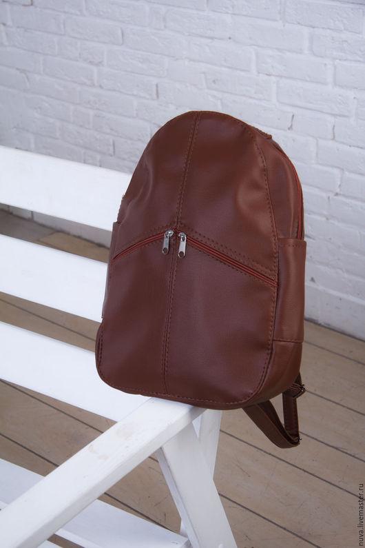 Рюкзаки ручной работы. Ярмарка Мастеров - ручная работа. Купить Светло-коричневый рюкзак с карманами. Handmade. Коричневый, рюкзак кожаный