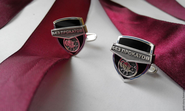 Запонки  серебряные  логотипом, Запонки, Москва, Фото №1
