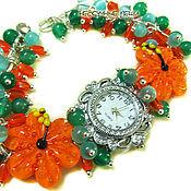 """Украшения ручной работы. Ярмарка Мастеров - ручная работа """"Тропический коктейль"""" наручные часы с бусинами лэмпворк. Handmade."""