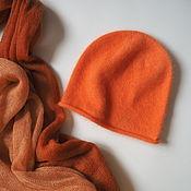Аксессуары handmade. Livemaster - original item Angora hat fluffy knitted hat of bright orange color. Handmade.