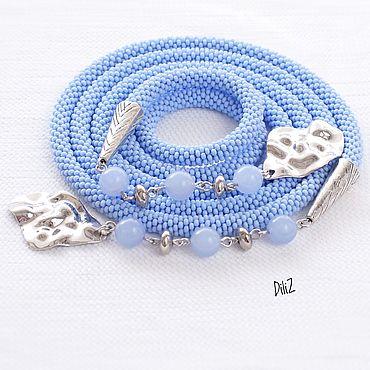 Decorations handmade. Livemaster - original item Lariat of beads Lilac-blue. Handmade.