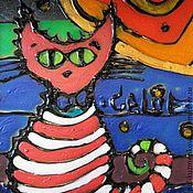 """Подарки к праздникам ручной работы. Ярмарка Мастеров - ручная работа Витраж """"Котэ"""". Handmade."""